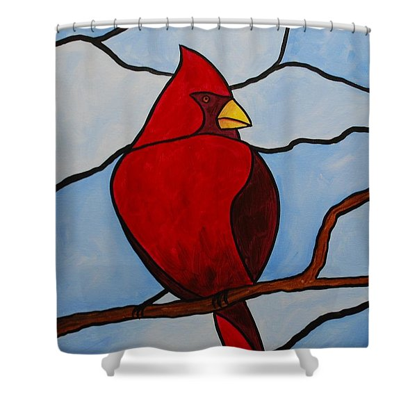 Stained Glass Cardinal Shower Curtain