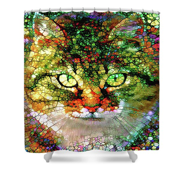 Stained Glass Cat Shower Curtain