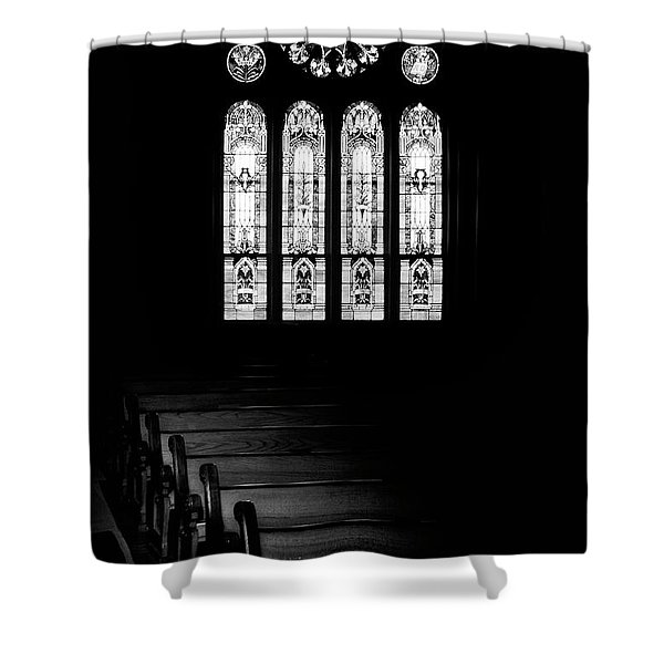 Stained Glass In Black And White Shower Curtain