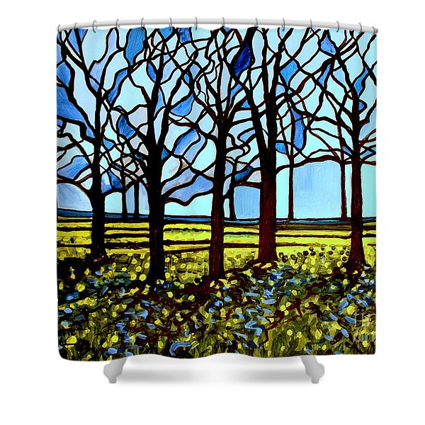 Stained Glass Trees Shower Curtain