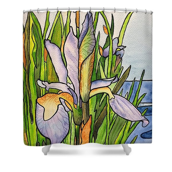 Stained Iris Shower Curtain
