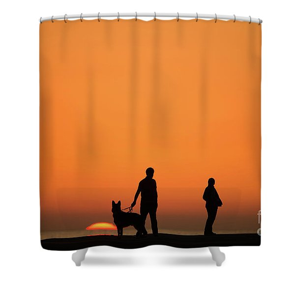Standing At Sunset Shower Curtain
