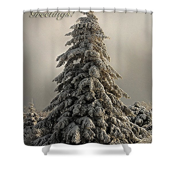 Standing Tall Christmas Card Shower Curtain by Lois Bryan