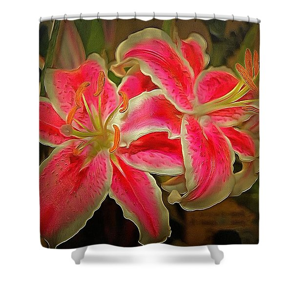 Star Gazer Lilies Shower Curtain