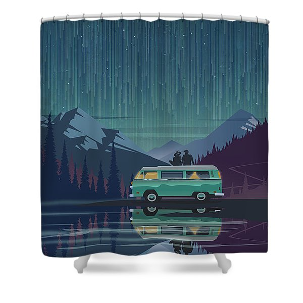 Shower Curtain featuring the painting Star Light Vanlife by Sassan Filsoof