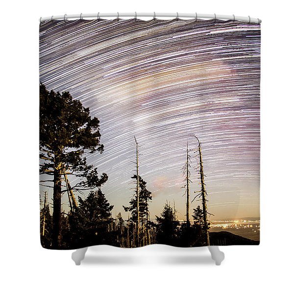Star Trails At Fort Grant Shower Curtain