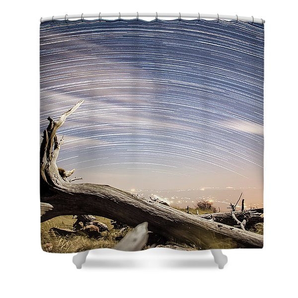 Star Trails By Fort Grant Shower Curtain