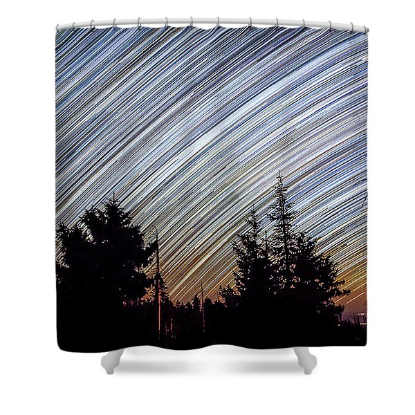 Star Trails From Mt. Graham Shower Curtain