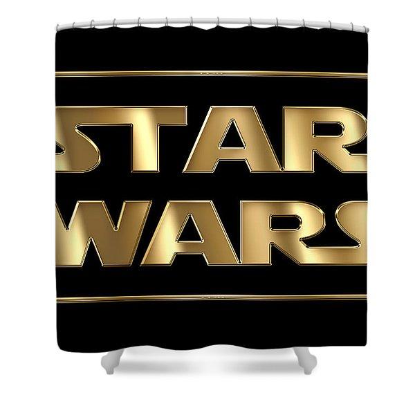 Star Wars Golden Typography On Black Shower Curtain