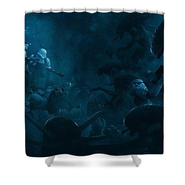 Star Wars Vs Aliens 1 Shower Curtain