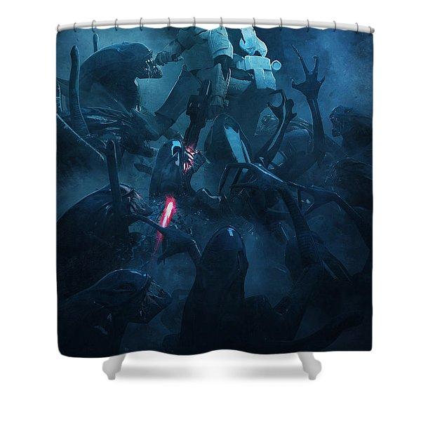 Star Wars Vs Aliens 2 Shower Curtain
