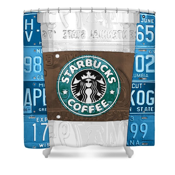 Starbucks Coffee Cup Recycled Vintage License Plate Pop Art Shower Curtain