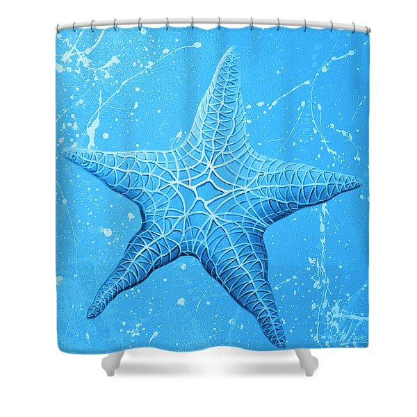 Starfish In Blue Shower Curtain