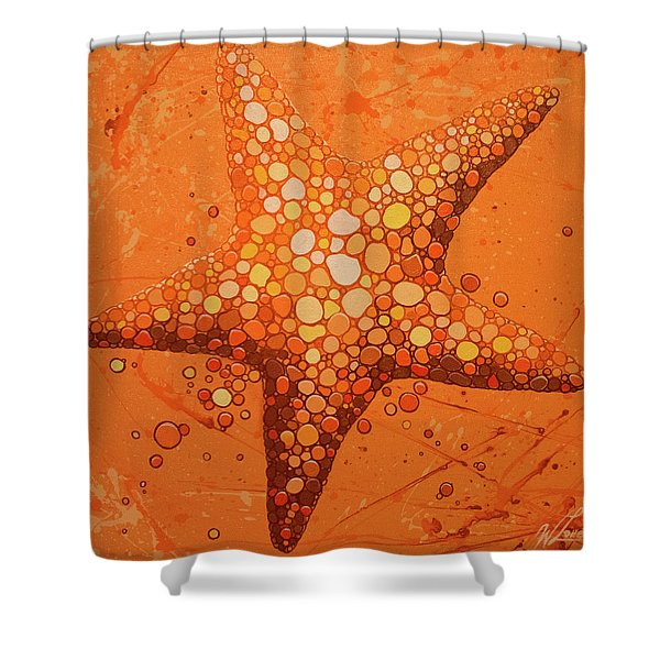 Starfish In Coral Shower Curtain