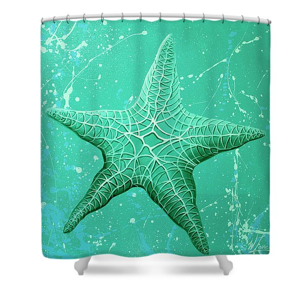 Starfish In Teal Shower Curtain