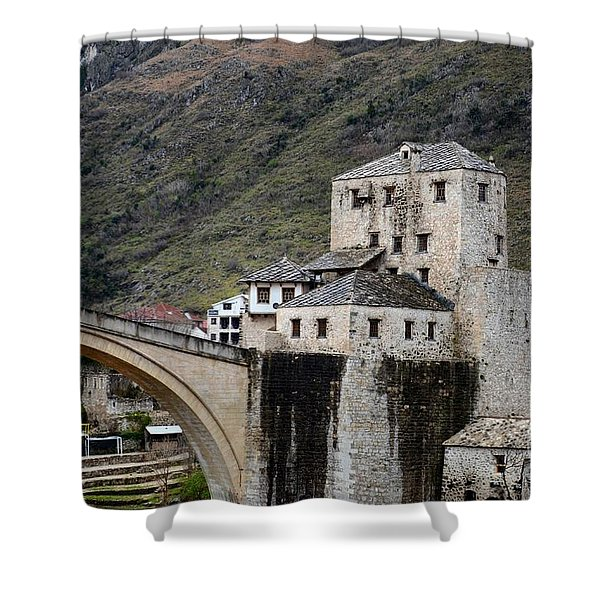 Stari Most Ottoman Bridge And Embankment Fortification Mostar Bosnia Herzegovina Shower Curtain