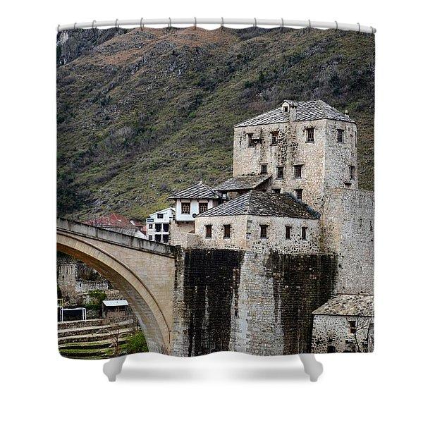 Stari Most Ottoman Bridge And Embankment Fortification Mostar Bosnia Herzegovina Shower Curtain