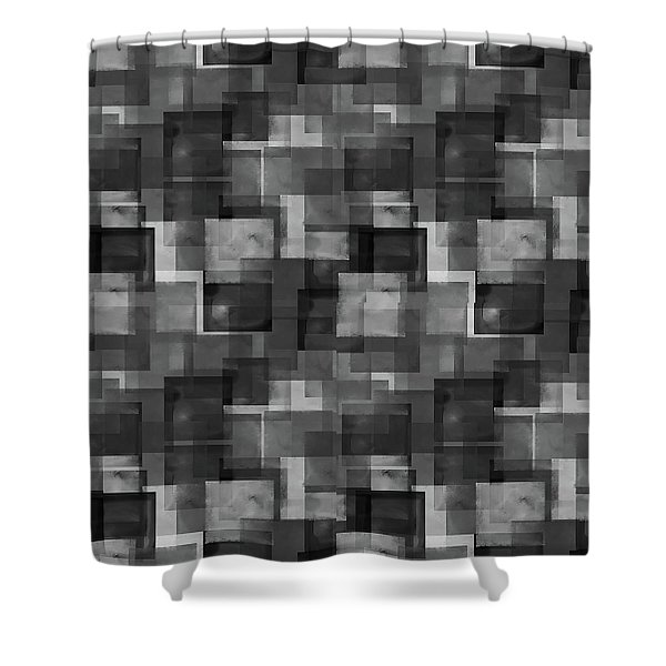 Stark Black Squares Abstract Pattern Shower Curtain