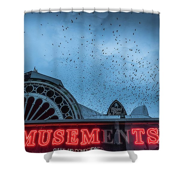 Starlings Over Aberystwyth Royal Pier Shower Curtain