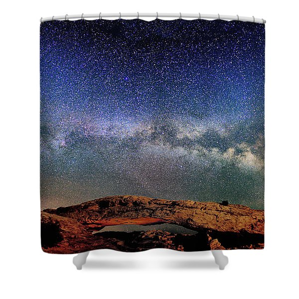 Starry Night Over Mesa Arch Shower Curtain
