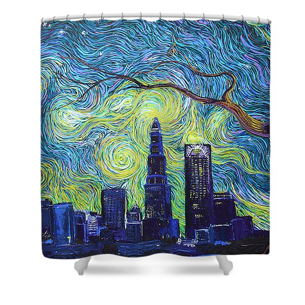 Starry Night Over The Queen City Shower Curtain