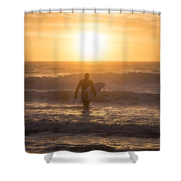 Start The Day Surfing Shower Curtain