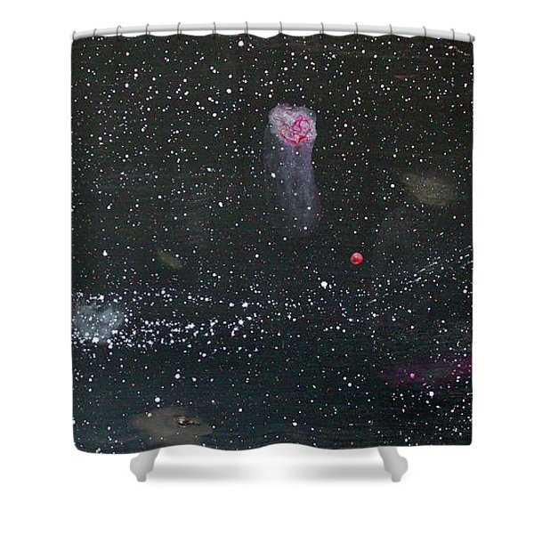 Shower Curtain featuring the painting Starry Night by Michael Lucarelli