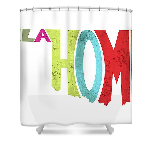 State Of Oklahoma Typography Shower Curtain