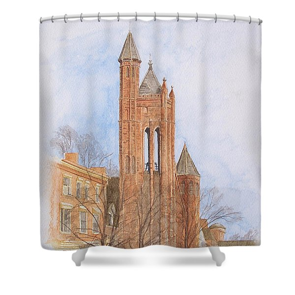 Shower Curtain featuring the painting State Street Church by Dominic White
