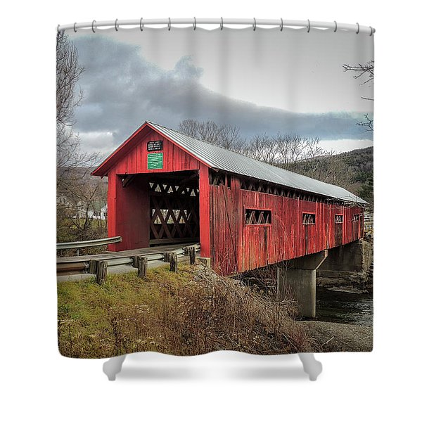 Station Covered Bridge Shower Curtain