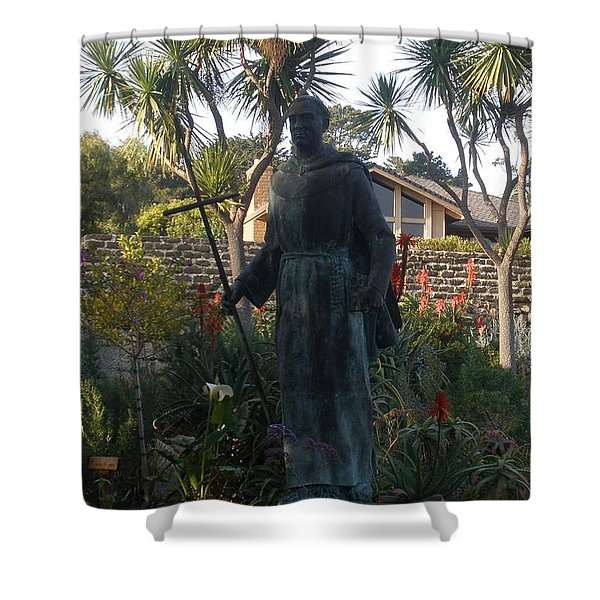 Statue At Mission Carmel Shower Curtain