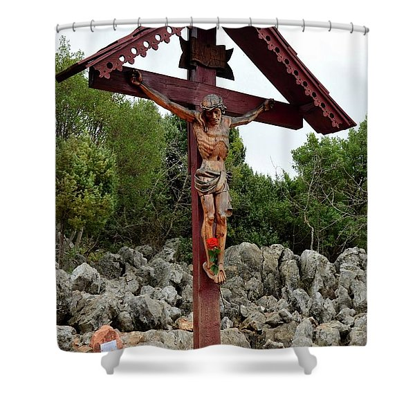 Statue Of Christ On Cross At Medjugorje Pilgrim Site Bosnia Herzegovina Shower Curtain