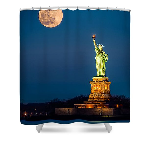 Statue Of Liberty And A Rising Supermoon In New York City Shower Curtain