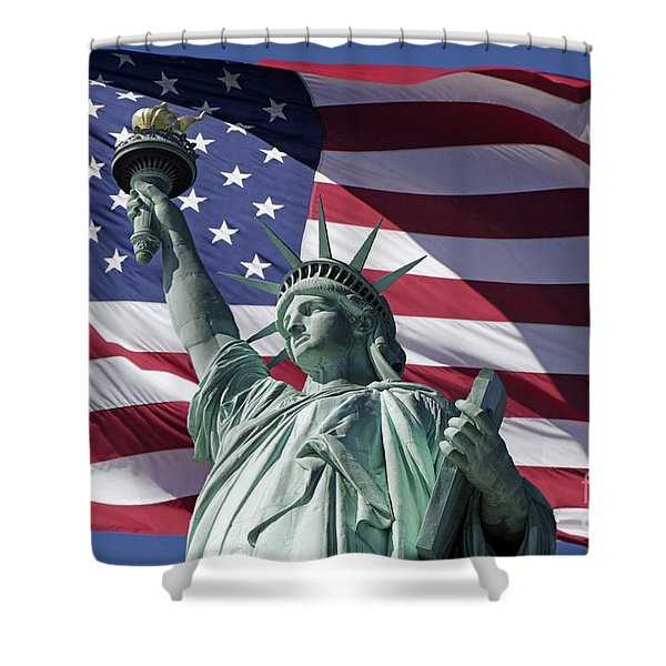 Shower Curtain featuring the photograph Statue Of Liberty New York  by Juergen Held