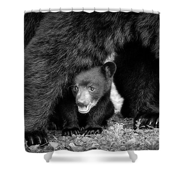 Staying Close-bw Shower Curtain