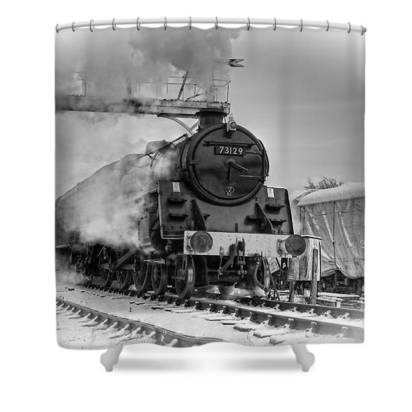 Steam Locomotive 73129 Shower Curtain