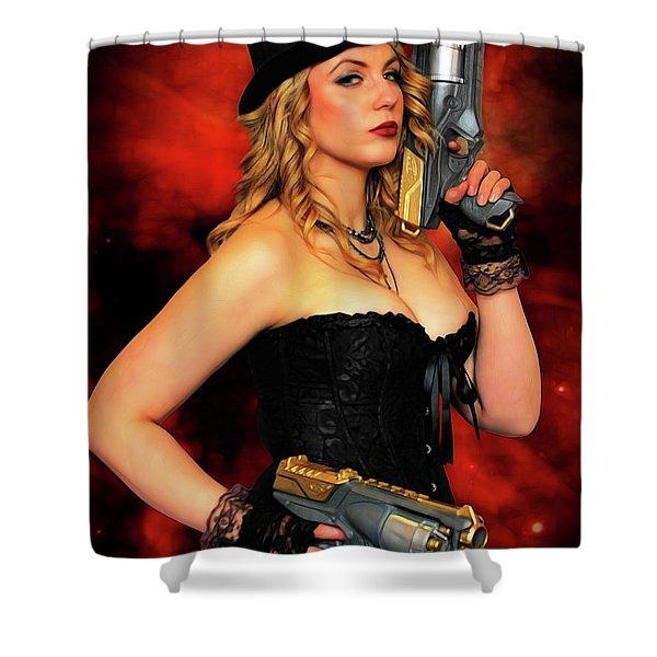 Steam Punk Gun Figther Shower Curtain