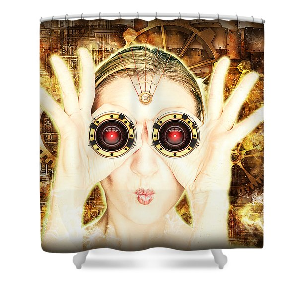 Steam Punk Lady With Bins Shower Curtain