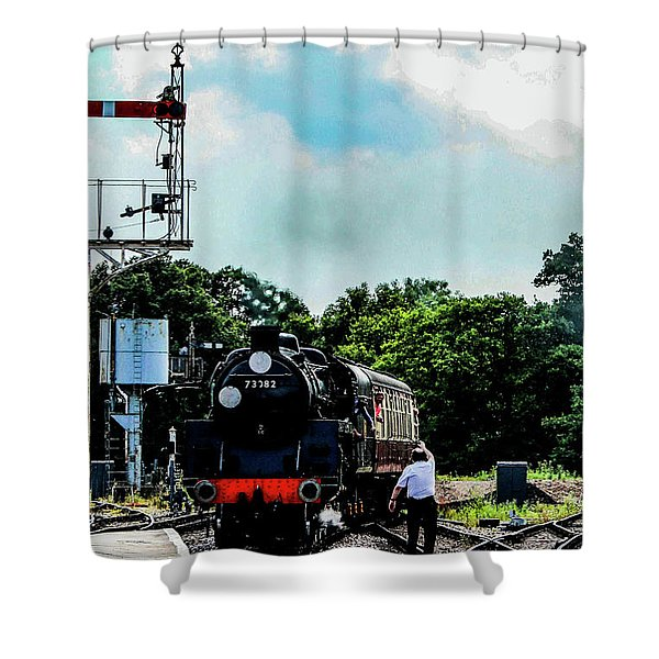 Steam Train Approaching Shower Curtain