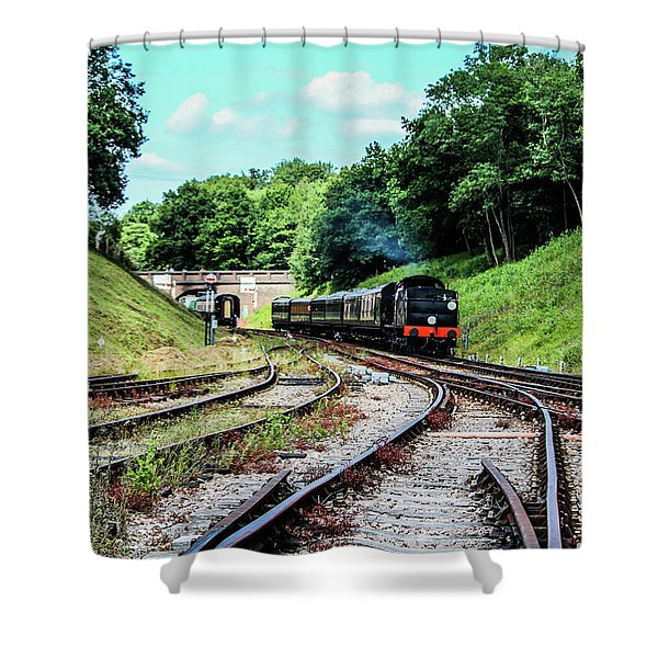 Steam Train Nr The Bridge Shower Curtain