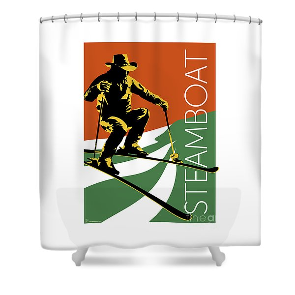 Shower Curtain featuring the digital art Steamboat Orange by Sam Brennan