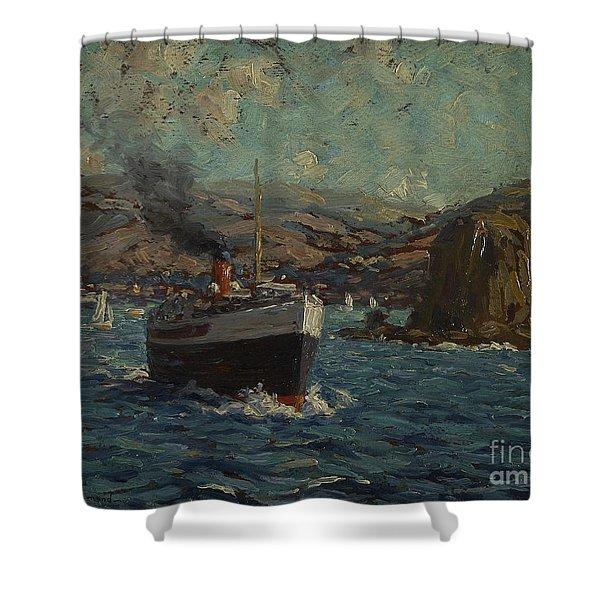 Steamer Leaving Avalon, Catalina Shower Curtain