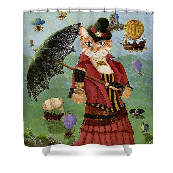 Steampunk Cat Gal - Victorian Cat Shower Curtain