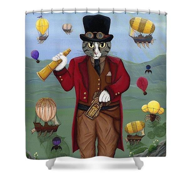 Steampunk Cat Guy - Victorian Cat Shower Curtain