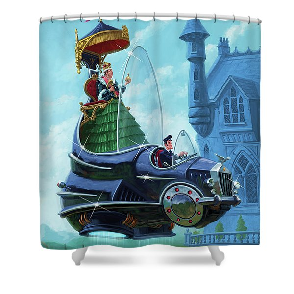 Steampunk Hover Rolls With Queen   Shower Curtain