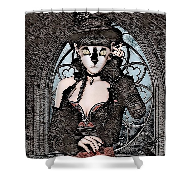 Steampunk Kitty By Artful Oasis Shower Curtain