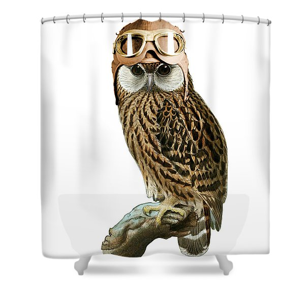 Steampunk Owl Shower Curtain