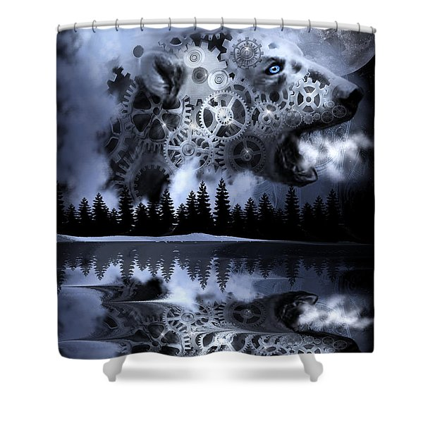 Steampunk Polar Bear Landscape Shower Curtain