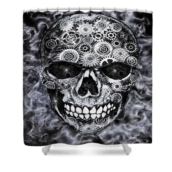 Steampunk Skull Shower Curtain