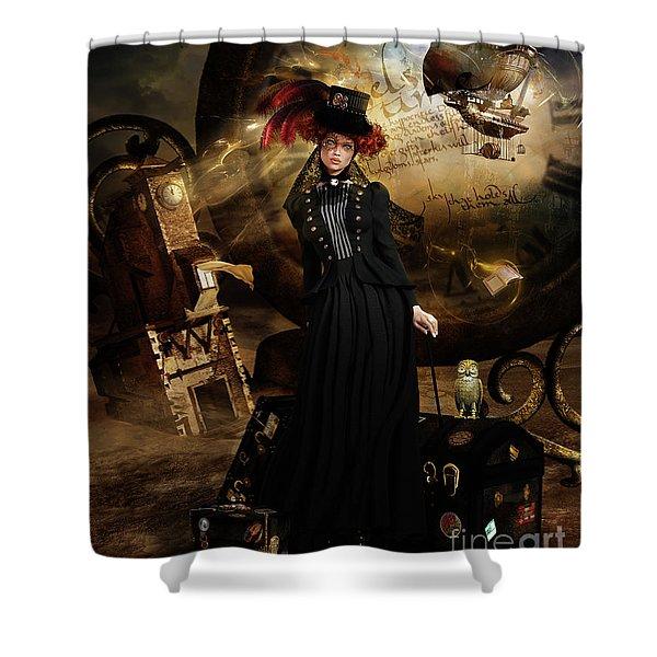 Steampunk Time Traveler Shower Curtain